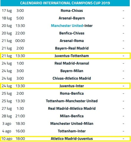International Champions Cup 2019 Calendario.International Champions Cup 2019 J Sat Television